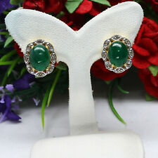 NATURAL 7 X 9 mm. CABOCHON GREEN EMERALD & WHITE TOPAZ EARRINGS 925 SILVER