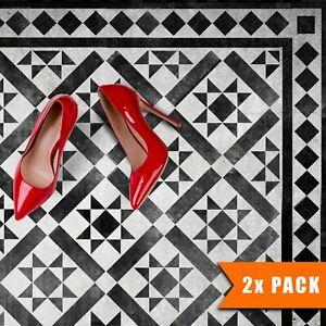 2x Faux Tile Stencils - Paint Tile Effect on Floors Walls Patios - Kensington