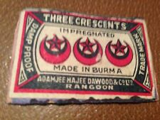 old match box top - the three crescents impregnated.burma