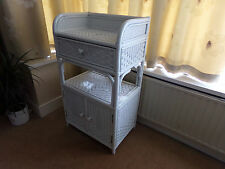REFURBISHED, WHITE CANE / WICKER CABINET, WITH DOORS AND DRAWER.