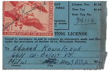 1945 Migratory Bird Stamp on Wi Hunting License Duck Stamp