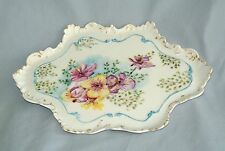 """Antique CFH GDM Haviland Limoges France Feather Edge Pansy Tray/Gilt-10.5"""" X 7"""
