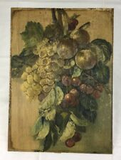 10x14 Antique Victorian Pressed Paper Lithograph Art Print Grapes Cherries Fruit