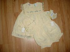 Vtg-Little Bitty-Infant Baby Girls Doll-Yellow Dress-Diaper Cover-Hat-Set-3-6