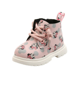 Minnie Mouse Calf Boots Childs Girls Black Shoes Boot Kids Footwear