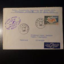 AVIACIÓN LETRA COVER PREMIER VUELO PARIS DÜSSELDORF HAMBOURG ALEMANIA 1965