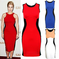 Ladies Celeb Towie Optical Illusion Slim Effect Contrast Bodycon Women's Dress