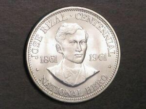 PHILIPPINES 1961 1 Peso Jose Rizal Silver Crown Unc