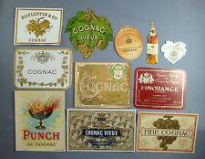 LOT 11 ETIQUETTES ALCOOL LABELS ANCIENNES BOISSON COGNAC FINE VIEUX PUNCH