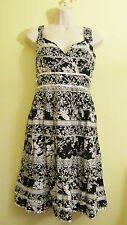 Nwt Chaudrey KC Cotton Day Dress  Beads  Sequins Sz L Large Blace Gray Print