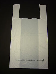 """Large White 100% BioDegradable ' ECO' Carrier Bag 12"""" x 18"""" Pack 100"""
