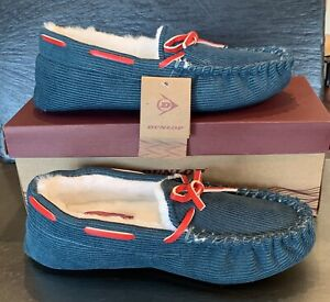 SIZE 6 ❤️£10.00❤️ Dunlop Ladies Teal/ Blue Corduroy Effect Moccasin Slippers