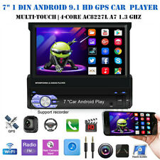 """Single 1 Din Car Stereo Radio 7"""" Retractable Android 9.1 Flip Out Gps Navi Wifi"""