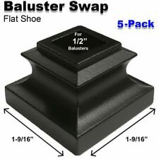 Baluster Swap Flat Shoes for Metal Balusters (5-Pack) NO Screw (Satin Black)