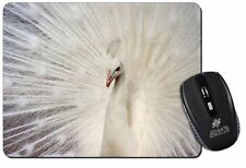 White Feathers Peacock Computer Mouse Mat Christmas Gift Idea, AB-PE19M