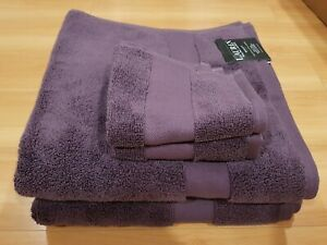 NWT Ralph Lauren Noble Purple Bath Wash Towels Cloth Wescott 4Pc Set Cotton