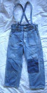 40s Denim Blue Jeans W/ Overall Straps - Pocket Rivets - Talon Zip - Child Size