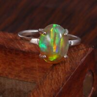 925 Sterling Silver Natural Ethiopian Welo Fire Opal Exclusive Wedding Ring #286