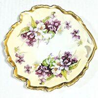 "Atq Leaf Shaped Dish Prussia B Royal Rudolstadt China Purple & White FLOWERS 6"""