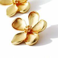 Women's Gold Retro Flower Ear Hoop Earrings Drop Dangle Jewelry Gifts Fashion
