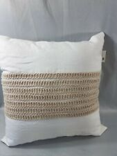 Hotel Collection WAFFLE WEAVE LINEN Square Decorative Pillow White Natural 18""
