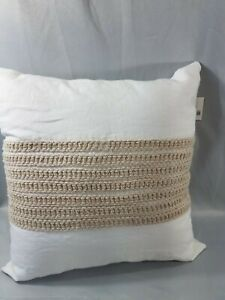 """Hotel Collection WAFFLE WEAVE LINEN Square Decorative Pillow White Natural 18"""""""