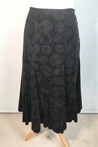 M&S Per Una Black Needlecord Kick Flare Midi Skirt Size 14
