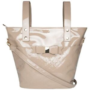 Mayoral Patent Changing Tote Bag with Bow in Tan
