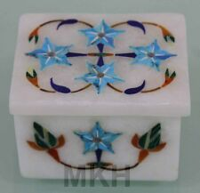 Marble Jewelry Box Inlay Pietra dura Turquoise Handmade Arts & Crafts Gifts Deco