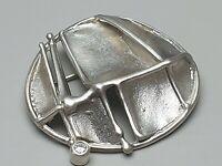 Design Silber Brosche 925 Silber punziert von GDE mattiert Steinbesatz /A898
