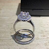 925 Sterling Silver Wedding Engagement Halo Ring Set 2 Carat Created Diamond