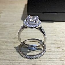 925 Sterling Silver Wedding Engagement Halo Ring Set 2 Carat Created Diamond