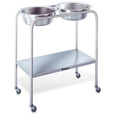 "Double Stainless Steel Solution Stand 29""L x 15""W x 33""H With Shelf & 2 Basin..."