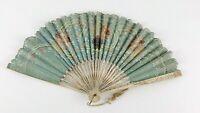 Vintage Antique Hand Fan Paper / Cloth Floral Pattern