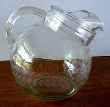 Vintage Clear Glass Ball Pitcher Etched Leaf Band Ice Lip Juice Tea 64 Oz