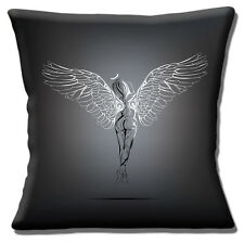 "Naked Angel Cushion Cover 16""x16"" 40cm Tattoo Style Outline Drawing with Wings"