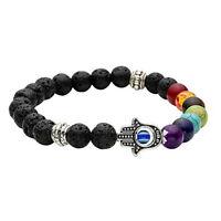 Hamsa Hand Chakra Gemstone Bracelet Lava Stone Crystal Reiki Healing BalancingFB