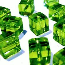 100 Pcs 4mm Crystal Glass Square / Cube Beads - Emerald Green - A3011