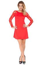 Womens Lovely Mini Dress Lacy Long Sleeve Crew Neck Sizes 8 - 18 FA454