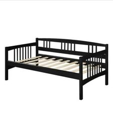 Modern Black Twin Size Solid Wood Day Bed Frame Furniture