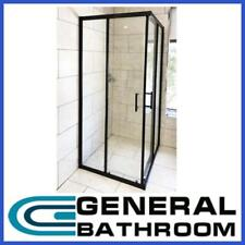 Black Corner Double Sliding Door Shower Screen 900 x 900mm