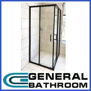 Black Corner Double Sliding Door Shower Screen 900 x 900mm