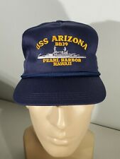 USS Arizona BB39 Baseball Hat Cap Blue Snapback Embroidered Pearl Harbor Hawaii