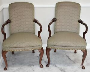 Pair of Mahogany Queen Anne Style Arm Chairs Nail head trim made in the USA