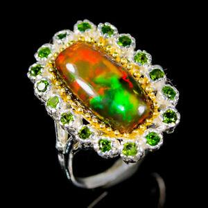 16x8 mm. gem Opal Ring Silver 925 Sterling  Size 8.25 /R165467