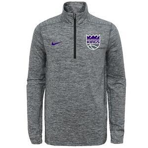 Nike NBA Youth Sacramento Kings Space Dye Heather Grey 1/4 Zip Element Pullover
