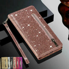 For iPhone 12 Pro Max 11 6s 7 8 Xr Glitter Case Leather Zipper Flip Wallet Cover