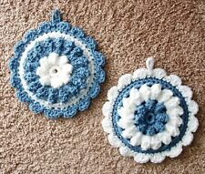 PAIR OF PUFF-STITCH ROUND POTHOLDERS, Crochet, COUNTRY BLUE AND WHITE, New