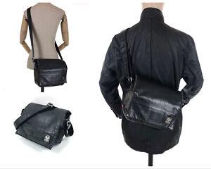VTG BELSTAFF Designer Cross-Body Leather Nylon Metal Fibres Side Messenger Bag