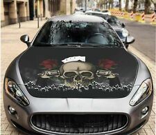 Decal Skull in Hat Car Hood Wrap Graphics Guns & Roses Sticker For Ford Mustang